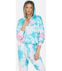 gower crop hoodie - pink/turquoise tie dye l