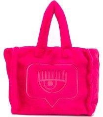 chiara ferragni flirting embroidered tote bag - pink