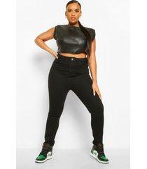 plus stretch skinny fit spijkerbroek met 5 zakken, black