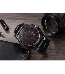 reloj cuarzo analogico lujo hombre cuero curren negro y rojo