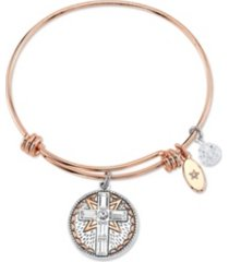 """unwritten """"faith is like wifi"""" crystal charm expandable bangle bracelet in rose gold tone stainless steel & plated charms"""