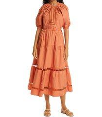 a.l.c. maryn cotton poplin midi dress, size 00 in lipstick at nordstrom