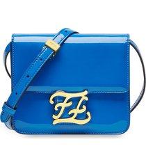 fendi karligraphy patent leather shoulder bag - blue