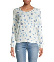 chaser women's star-print crewneck pullover - light blue - size m