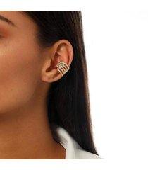 piercing kaka corrêa cravejado com zircônias e cristais no banho de ouro 18k - feminino