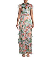 lessie floral print ruffled maxi dress