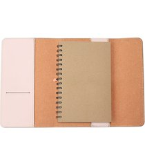 billetera bitácora rosa pastel media carta cuery