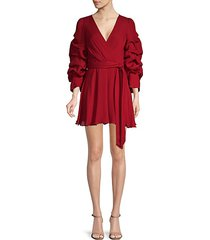 santina tuck-sleeve faux-wrap dress