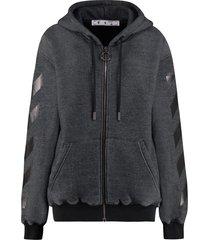 off-white cotton full zip hoodie