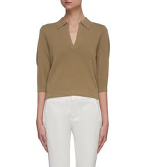 belisse short puff sleeve rib knit sweater