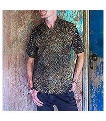 men's cotton batik shirt, 'night starfield' (indonesia)
