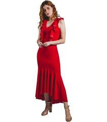 vestido adrissa rojo largo fiesta pegado al cuerpo