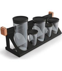 acessórios para cozinha 2 suportes porta-condimentos preto  - pnr móveis