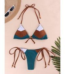 color block halter self-tie diseño bikini