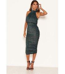 ax paris women's sparkle high neck ruched midi dress