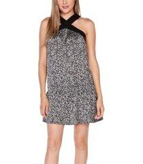 belldini black label printed halter dress with ruffle hem