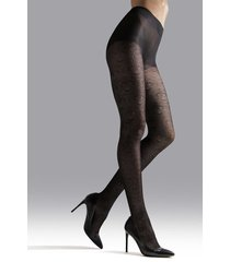 natori fan sheer tights, women's, black, size s natori
