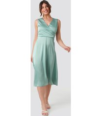 trendyol double breasted collar midi dress - green