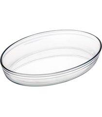 assadeira de vidro forma oval 39x27cm 4l casa linda - tricae