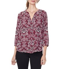 women's nydj pleat back blouse, size xx-small - red