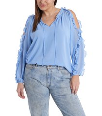 plus size women's 1. state ruffle cold-shoulder georgette top, size 3x - blue