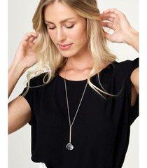 colar zinzane longo gota neutro feminino - feminino