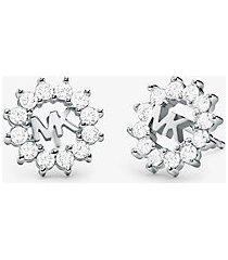 mk orecchini a bottone in argento sterling con placcatura in metallo prezioso - argento (argento) - michael kors