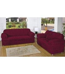 capa de sofá brastuca 2 peças 21 elásticos vinho