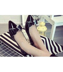 pp251 cutie pointy pump with big bow top, flat heel, us size 5-9, black