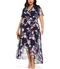 jessica howard plus size printed high-low maxi dress