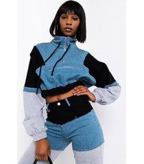 akira casual calling denim detail sweatshirt