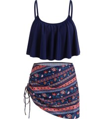 bohemian printed cinched flounce three piece swimsuit