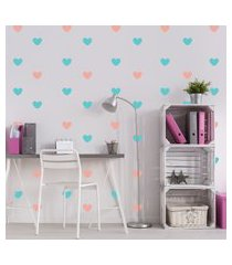 adesivo de parede infantil quartinhos coraçáo rosa e azul