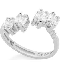 anel bijoulux aro ajustável com zircônias semi jóia prata