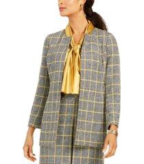 kasper open-front plaid jacket