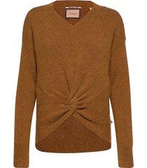 crewneck knit with knot detail at hem stickad tröja brun scotch & soda