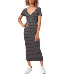 women's 1.state stripe rib knit t-shirt dress, size large - black