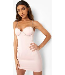 bodycon mini jurk met steentjes, bandjes en buste detail, pale pink