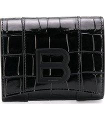 balenciaga crocodile-effect leather wallet - black