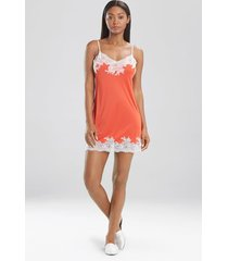 natori enchant lace trim chemise pajamas, women's, red, size l natori