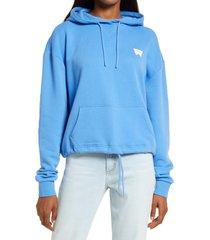wrangler women's logo hoodie, size medium in marina blue at nordstrom