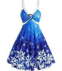 christmas snowflake print ombre color o ring dress