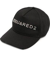 woman black denim dsquared2 crystals baseball cap
