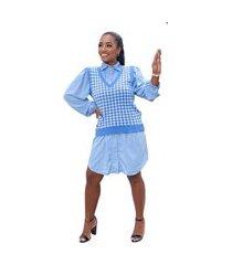 colete feminino trico pied poule tricot moda inverno 2021 azul