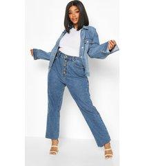 plus high rise wide leg jeans, mid blue