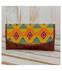 leather and cotton checkbook wallet, 'textile splendor' (guatemala)