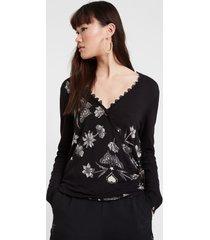 fine crossed sweater butterflies - black - xxl