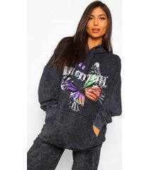 zwangerschaps acid wash gebleekte wmn hoodie met vlinder, black