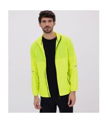 jaqueta esportiva quebra-vento neon com refletivo | get over | amarelo | p