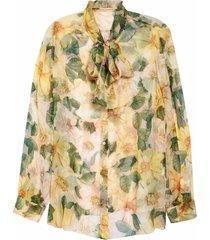 women's dolce & gabbana bow neck floral print silk chiffon blouse, size 12 us - yellow